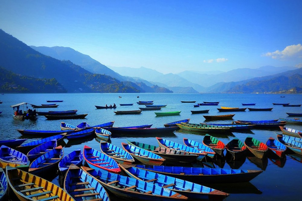 Colourful Boats at Fewa Lake