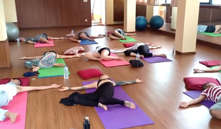 Yoga class in Nepal