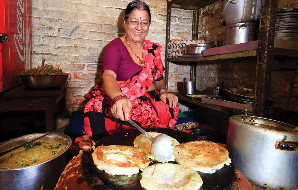 Newari lady making Bara