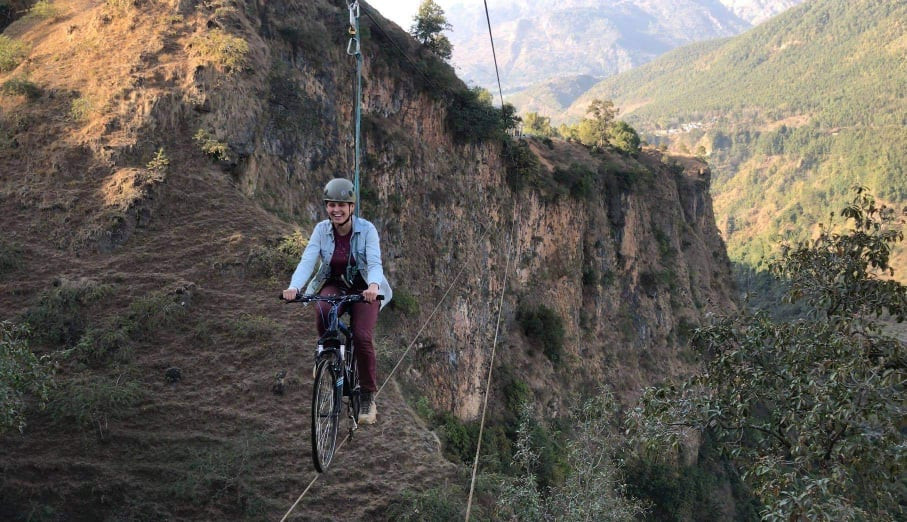 Sky cycling in Nepal