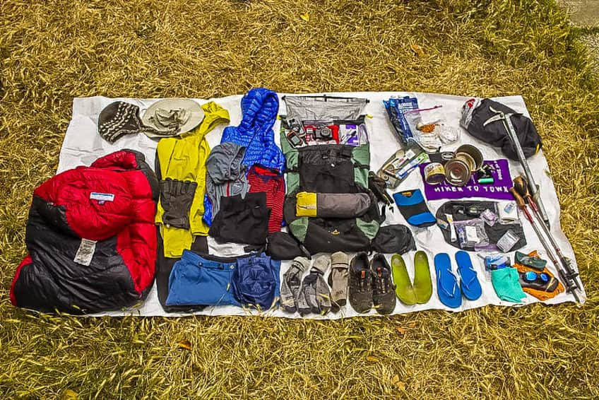 clothes and equipment for backpack