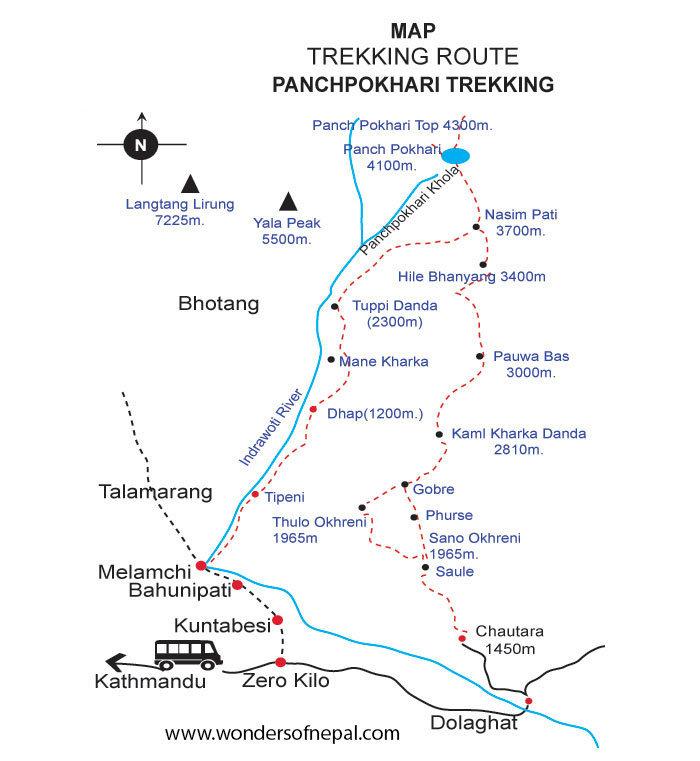 Route for Panch Pokhari Trek