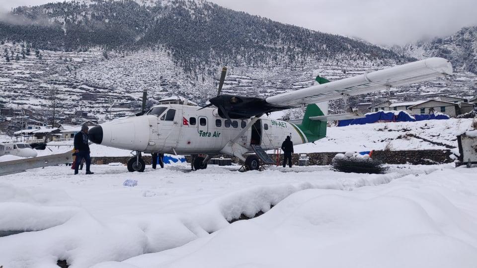 Snowfall in Simkot airport