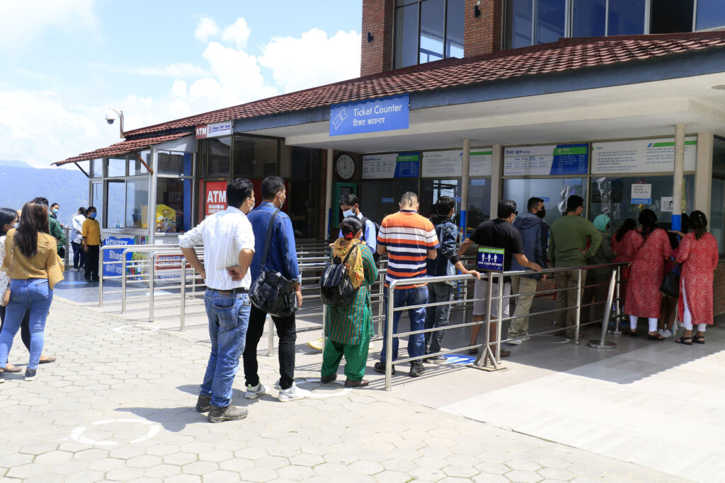 Waiting in line for ticket at Chandragiri